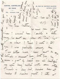 Letter from hospital, Paris, November 1915